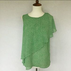 Anthropologie HD in Paris green and white blouse